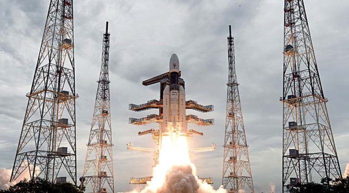 The Geosynchronous Satellite Launch Vehicle, GSLV MkIII-M1 rocket, carrying Chandrayaan-2 spacecraft, lifting off from the Second Launch Pad at the Satish Dhawan Space Centre, Sriharikota, in Andhra Pradesh on Monday.