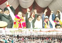 Senior NC leaders at a public rally at Chatroo on Monday.