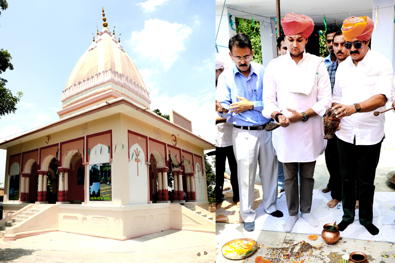 An outer view of Rani Temple in Samba (left) and trustees of Dharmarth Trust performing rituals there (right).