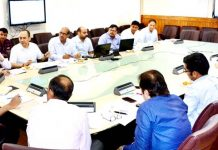 Chief Secretary, BVR Subrahmanyam chairing a meeting on Monday.