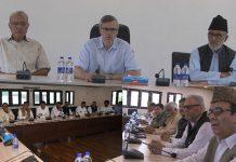 Omar Abdullah chairing NC Political Affairs Committee meeting at Srinagar on Sunday.