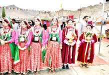 Artists presenting a cultural programme during Tribal Festival at Leh. -Excelsior/Morup Stanzin