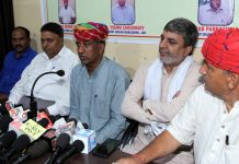Members of International Gurjar Mahasabha addressing a press conference at Jammu on Sunday.