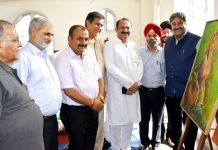 MLC Vikram Randhawa, State Executive Member Raman Suri and others during National Art Festival at Jammu.