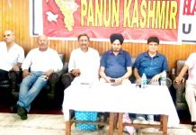 General PS Mehta and Panun Kashmir leaders during a programme at KP Sabha, Amphalla in Jammu.