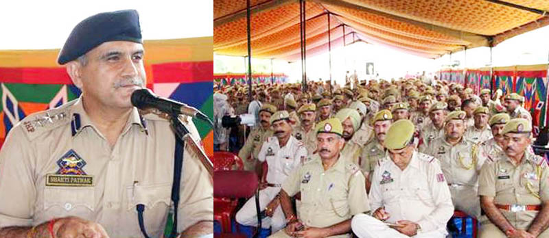 SSP Samba Shakti Pathak addressing police personnel at DPL Samba on Thursday.