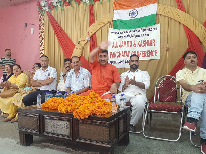 AJKPC office bearers during the convention at Udhampur on Thursday.