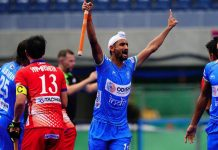 India's Mandeep Singh celebrating hat-trick against Japan in the Olympic Test Event at Tokyo.