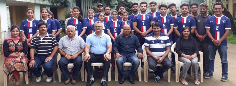 State Roll Ball team posing along with officers and officials before leaving for Surat on Tuesday.