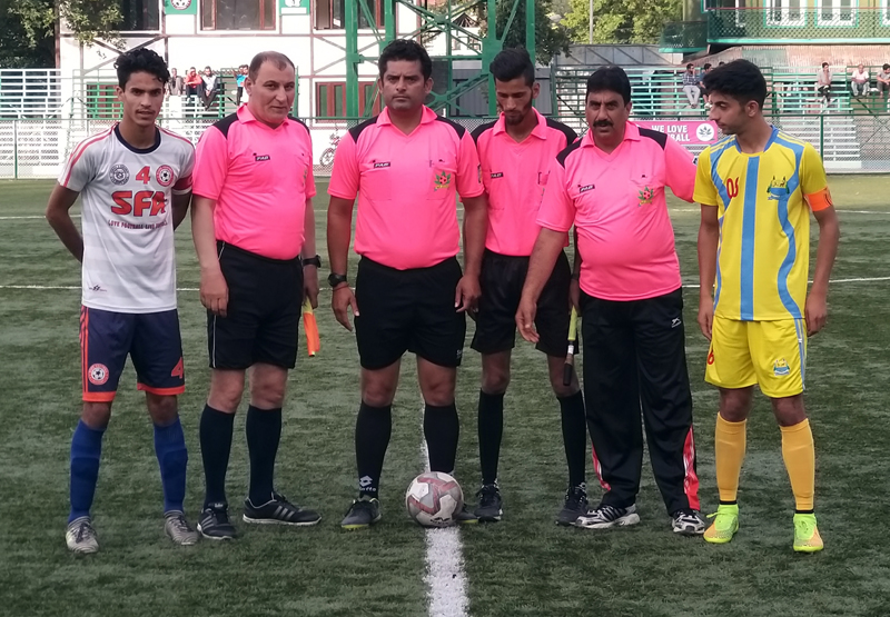 Officials and players ready to go at Synthetic Turf TRC in Srinagar.