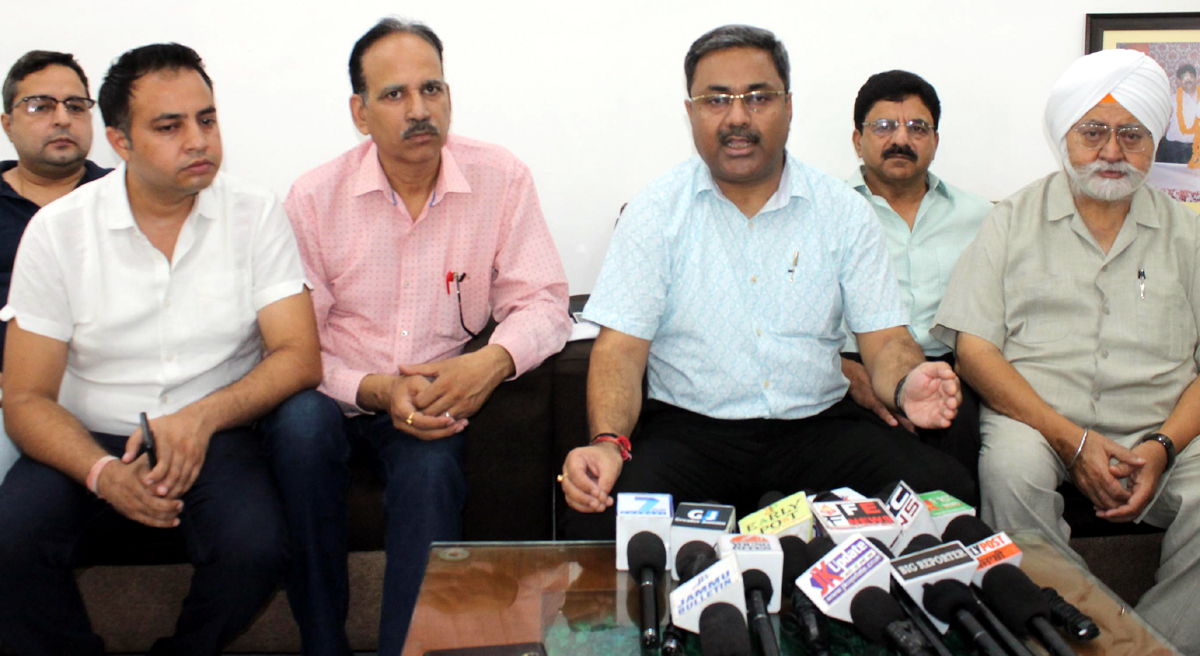 CTF president, Neeraj Anand talking to media-persons in Jammu on Wednesday. —Excelsior/Rakesh