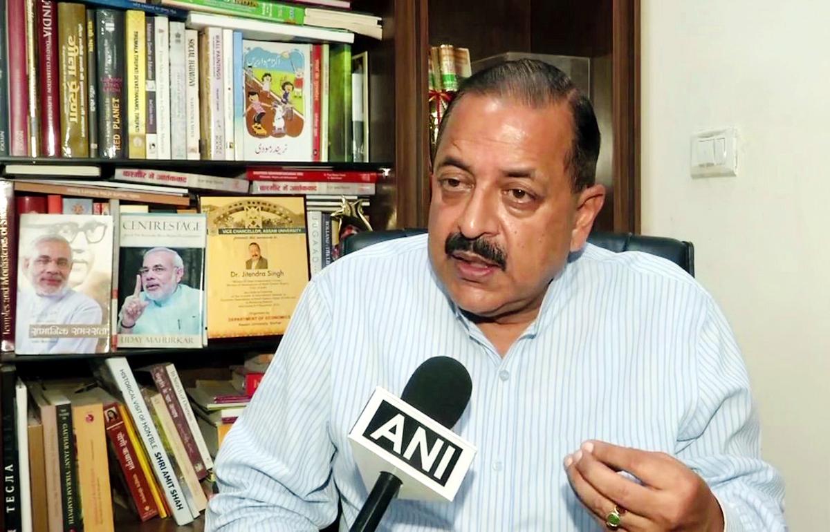 Union Minister Dr Jitendra Singh speaking to media at New Delhi.