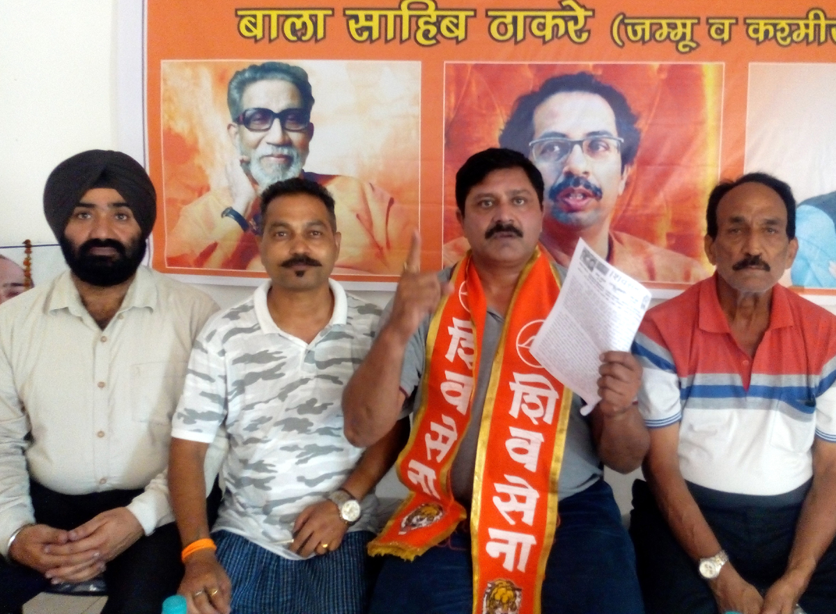 State general secretary of Shiv Sena, Manish Sahni addressing media persons in Jammu.