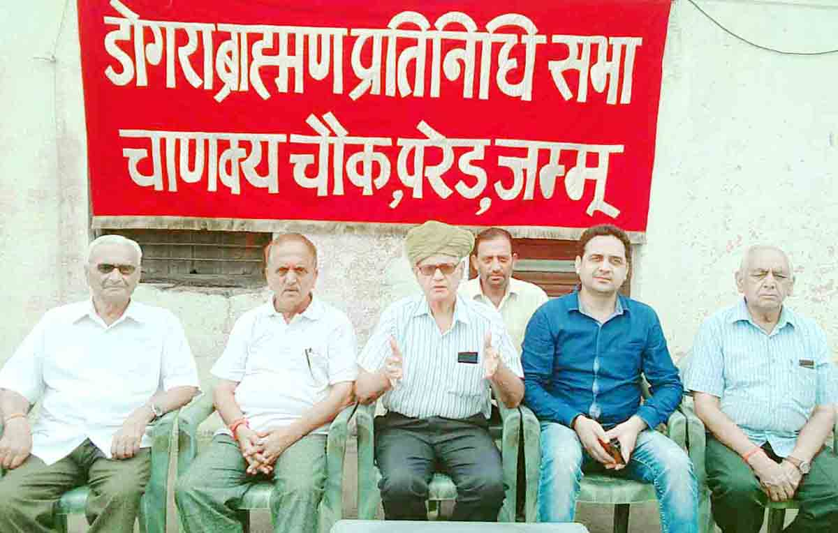 Members of Brahman Sabha addressing mediapersons after meeting on Wednesday.