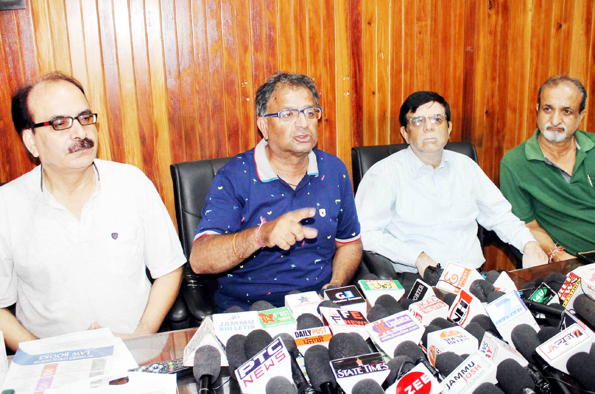 PK leaders at a press conference at Jammu on Wednesday. -Excelsior/Rakesh