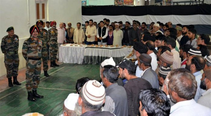 Lt Gen Ranbir Singh, Geneal officer Commanding-in-Chief Northern Command met locals at Vilgam village in Kupwara on Wednesday.