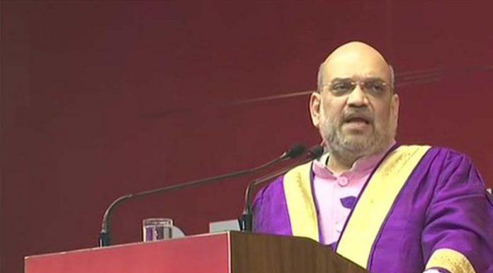 Home Minister Amit Shah speaking Pandit Deen Dayal Upadhyay Petroleum University in Gandhinagar.