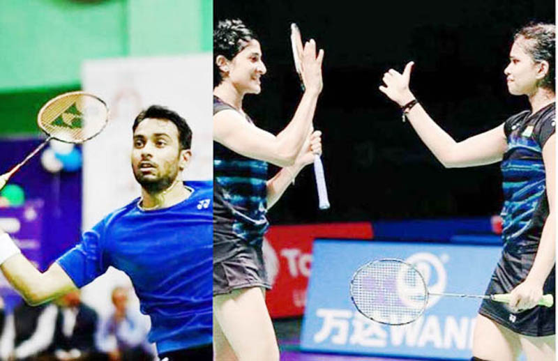 Sourabh Verma (L) and the duo of Ashwini Ponnapa and Sikki Reddy during Hyderrabad open on Sunday.