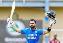 Virat Kohli celebrating 42nd ODI century against West Indies at Port of Spain on Sunday.