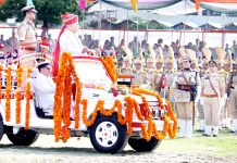 Advisor Farooq Khan inspecting Independence Day parade at mini-stadium Jammu. -Excelsior/Rakesh