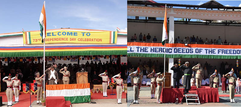 CECs of Leh and Kargil saluting Tricolour during Independence Day celebration.