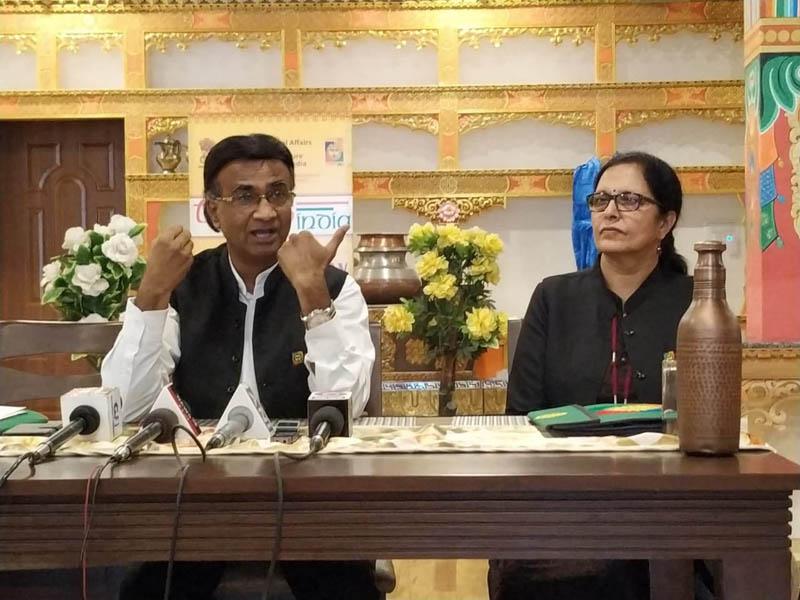 Managing Director, TRIFED, Pravir Krishna, addressing a press conference at Leh. -Excelsior/Morup Stanzin