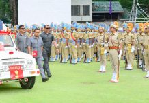 Governor Satya Pal Malik inspecting Independence Day parade at Sher-i-Kashmir Cricket Stadium, Srinagar.