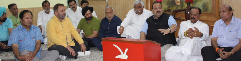 NC Provincial President Devender Singh Rana addressing a party meeting at Jammu on Saturday.