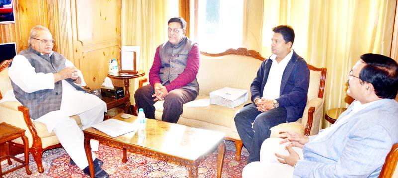 Governor Satya Pal Malik meeting J Goburdhun, High Commissioner of Republic of Mauritius on Saturday.