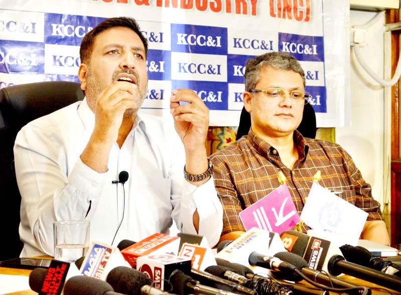 Members of KCC&I addressing a press conference at Srinagar. -Excelsior/Shakeel