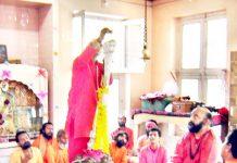 Chhari Sathapana being performed at Amareshwar temple at Srinagar on Saturday.
