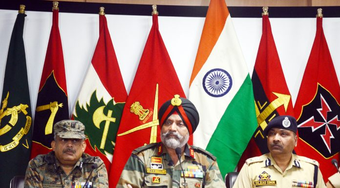 GOC 15 Corps and DGP Police addressing a joint press conference in Srinagar on Friday. -Excelsior/Shakeel