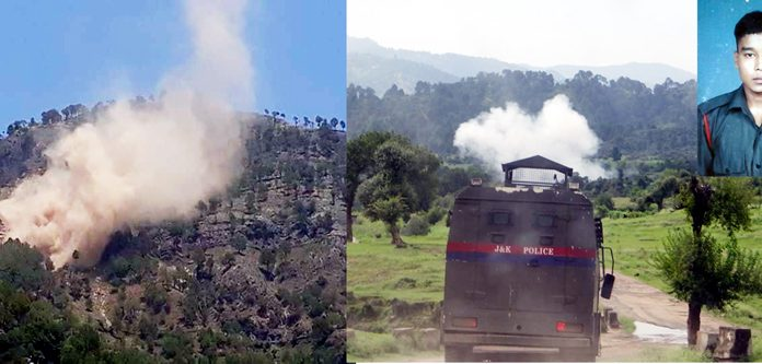 A Pakistan post destroyed across Nowshera sector (left) and a mortar shell explodes near J&K Police vehicle in KG sector (right) on Saturday. (Inset) Martyr Indian Army jawan Sandeep Thappa.