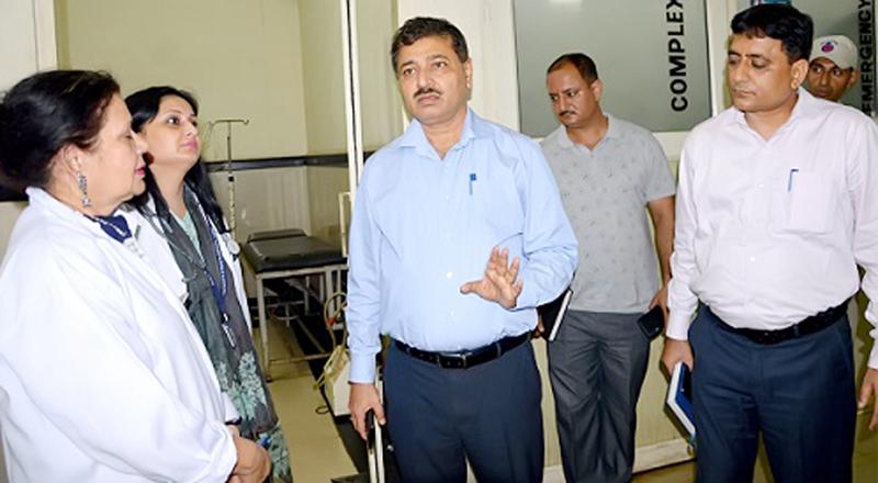 DC Rohit Khajuria during surprise visit to DH Samba on Monday.