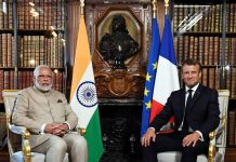 Prime Minister Narendra Modi meeting the President of France Emmanuel Macron in Paris.