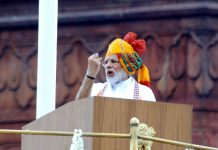 Prime Minister Narendra Modi addressing the nation from the Red Fort on the occasion of 73rd Independence Day in New Delhi on Thursday. (UNI)