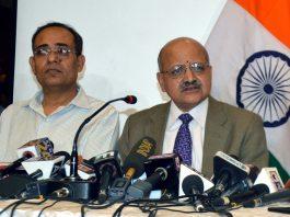 Chief Secretary BVR Subrahmanyam addressing a press conference in Srinagar on Friday. -Excelsior/Shakeel
