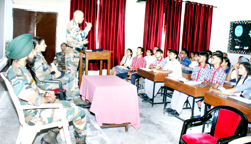 Army officer expressing his views during career fair.