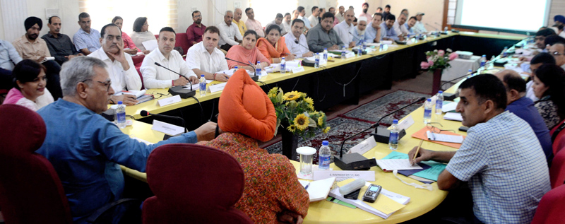 Advisor Farooq Khan chairing a meeting at Jammu on Tuesday.