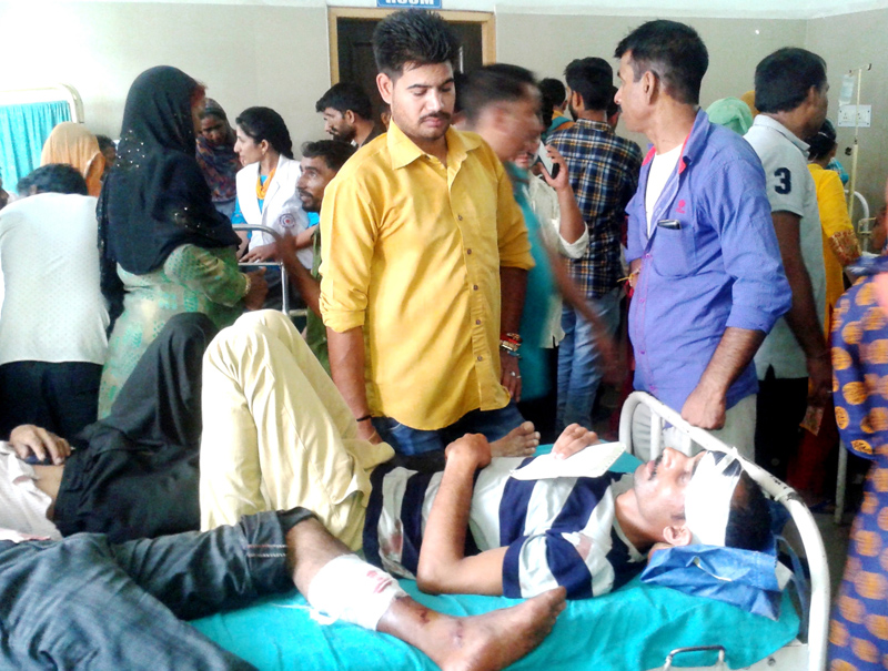 Accident victims being treated at District Hospital in Udhampur.