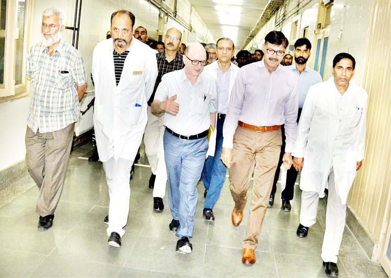 Advisor K Vijay Kumar during his visit to SMHS Hospital, Srinagar on Tuesday.
