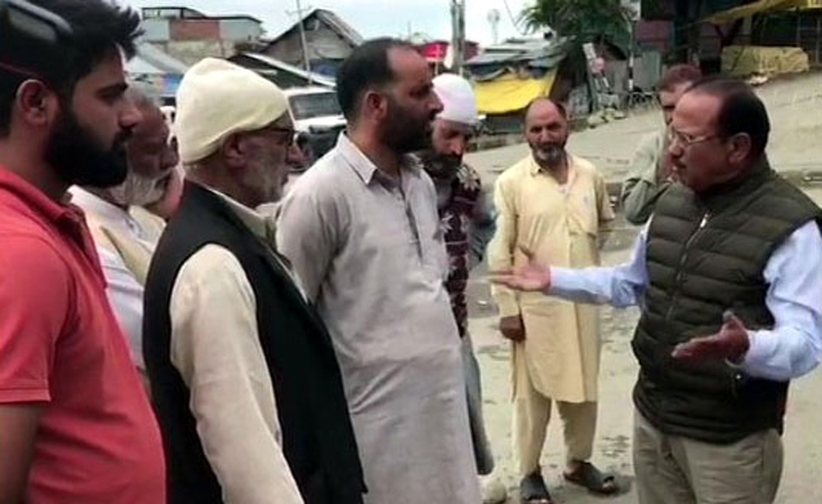 NSA Ajit Doval inter-acts with people in Shopian on Wednesday.