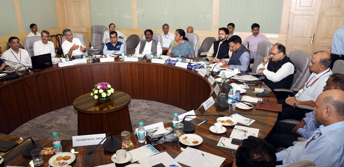 Union Minister for Finance and Corporate Affairs, Nirmala Sitharaman and the Minister of State for Finance and Corporate Affairs, Anurag Singh Thakur co-chairing the meeting with the Representatives of Automobile Sector, in New Delhi on Wednesday.