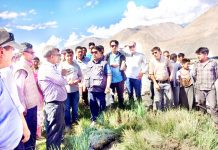CEC, Leh Gyal P Wangyal during his visit to flood hit areas of Morgi on Monday.