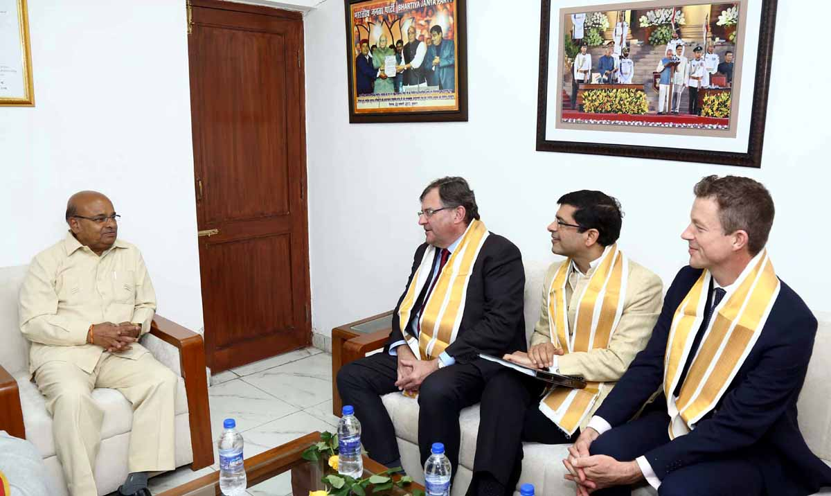 An Australian delegation led by the Director and CEO, Australia India Institute, Prof. Craig Jeffrey meeting the Union Minister for Social Justice and Empowerment Thaawar Chand Gehlot, to take forward the implementation of the Memorandum of Understanding (MoU) signed on 22 November, 2018 for co-operation in the areas in disability sector, in New Delhi on Monday. (UNI)