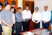 Financial Commissioner, H&ME Atal Dulloo exchanging MoU with officials of BVG India Ltd on Friday.