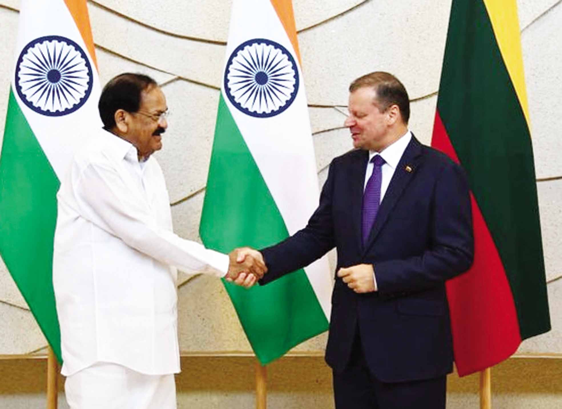 Vice President M Venkaiah Naidu met Prime Minister of Lithuania, Saulius Skvernelis & discussed strengthening of ties across sectors between the two countries.