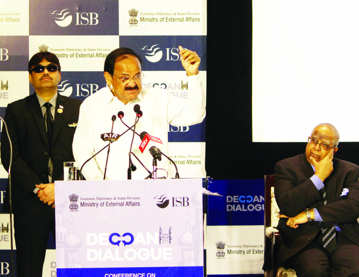 Vice President M Venkaiah Naidu addressing on 2nd edition of Deccan Dialogue Conference on Economic Diplomacy in the age of Disruptions at ISB in Hyderabad on Saturday. (UNI)
