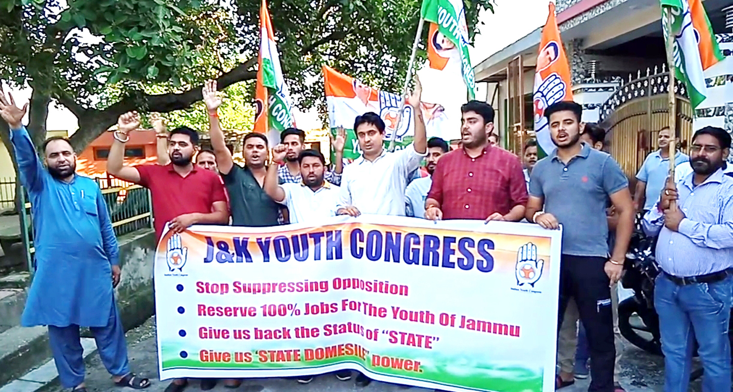 Youth Cong activists staging protest in Jammu on Monday.