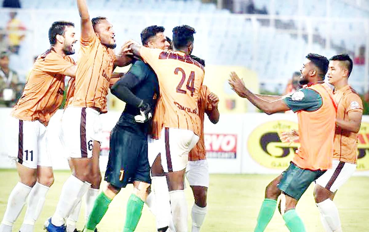 Gokulam Kerala FC footballers celebrate with their goalkeeper C.K.Ubaid.